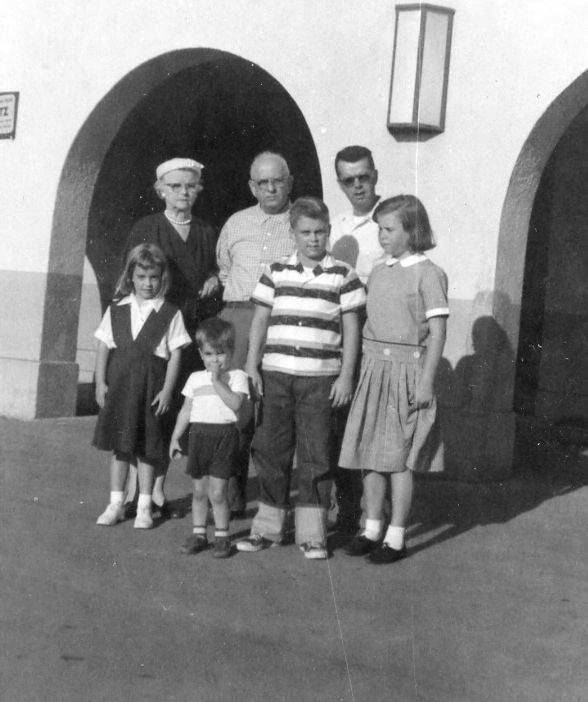 Liz, Grandma, Jim, Grandpa, David, Dad, and Liz (1958)